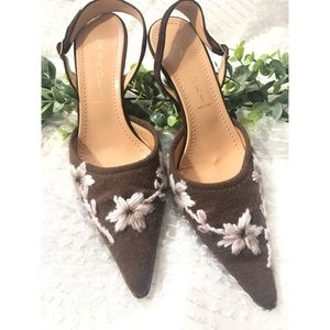 Casadei Floral Embroidered Pointy Toe Shoe